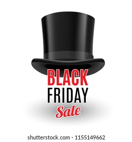 Black Top Hat Isolated on White with Text Black Friday Sale with Shadow Effects