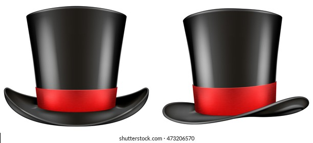 4b7d92a46ec Black top hat with red ribbon. Frontal and three quarter views. Vector  illustration.