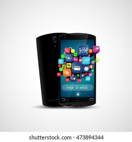 Black touch screen smartphone and application icon isolated on white background .Vector 3D illustration