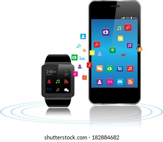 Black Touchscreen Smart watch with colorful Application Icons sharing