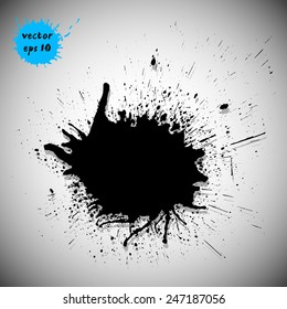 Black traced ink splatter. Vector clip-art. Dark blot for grunge design.