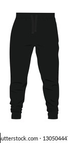 Black  tracksuit bottom. vector illustration