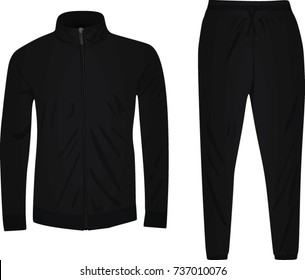 Black tracksuit. vector illustration