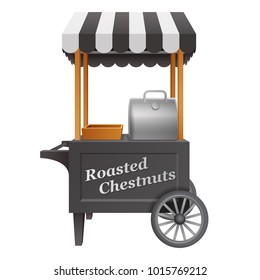 black traditional vintage carnival   outdoor commercial hot roasted chestnut machine cart with striped tent isolated on white background. 3d realistic vector illustration