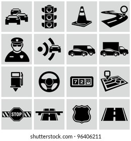 Black traffic and driving icons set.