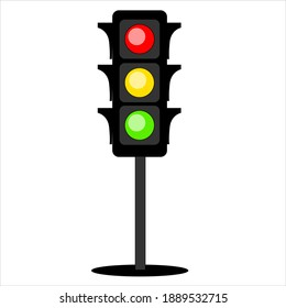 Black traffic light with three colors - red, orange and green.
