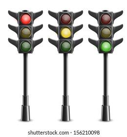 Black Traffic Lights On Pole. Vector Illustration