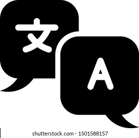 Black Translator icon isolated on white background. Foreign language conversation icons in chat speech bubble. Translating concept.  Vector Illustration