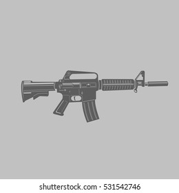 Black and transparent assault rifle vector illustrations