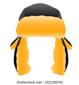 Black Trapper Cap Hat Vector Illustration Icon Graphic