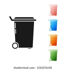 Black Trash can icon isolated on white background. Garbage bin sign. Recycle basket icon. Office trash icon. Set icons colorful. Vector Illustration
