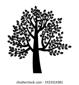 Black tree in abstract style. Tree vector icon. Nature illustration. White background. Stock image. EPS 10.