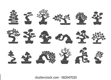 Black tree logo illustration icon set. Bonsai