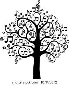 Black tree from musical notes isolated on White background. Vector illustration.