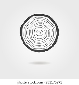 black tree rings icon with shadow. concept of saw cut tree trunk, forestry and sawmill. isolated on white background. logo design trendy modern vector illustration