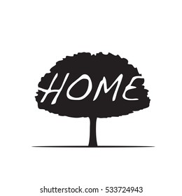 Black Tree and text HOME. Vector Illustration.