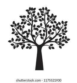 Black Tree. Vector Illustration. Nature and garden.