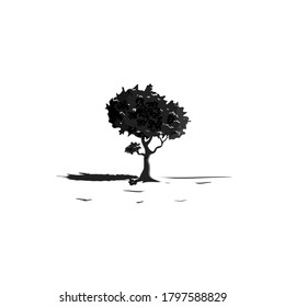 black tree vector isolated in white