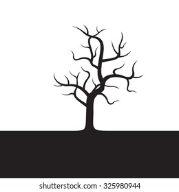 Black Tree without Leafs. Vector Illustration.
