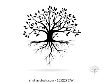Black Trees and root with leaves look beautiful and refreshing. Tree and roots LOGO style.