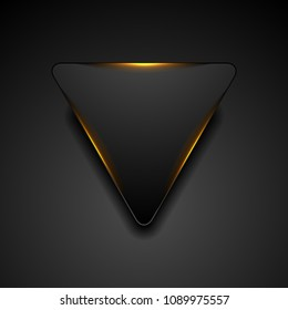 Black triangle with fiery orange light abstract background. Vector corporate design