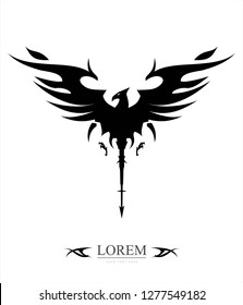 black tribal phoenix with the arrow tail