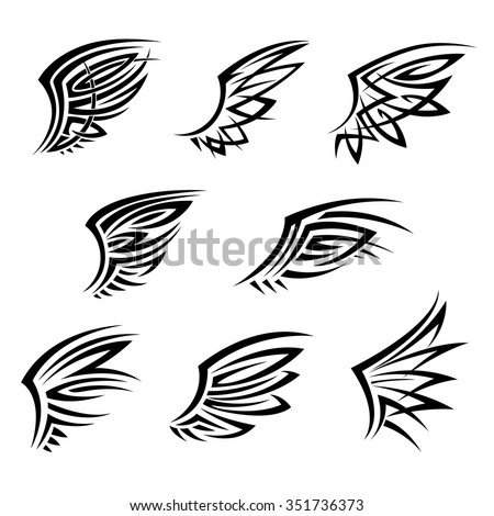 a692bc48 Black tribal wings with abstract decorative feathers. Design elements for  tattoo, t-shirt print or emblems - Vector