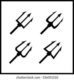 Black trident silhouette set illustration. Trident icons