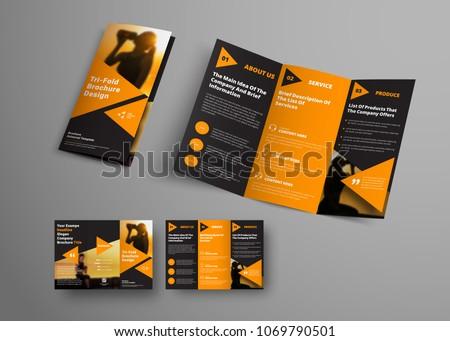 black triple folding brochure template orange stock vector royalty