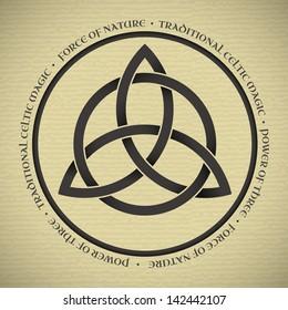 Black Triquetra symbol on vintage paper