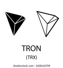Black tron cryptocurrency symbol isolated on white background