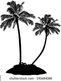 Black Tropical silhouette Palm Tree Island on white
