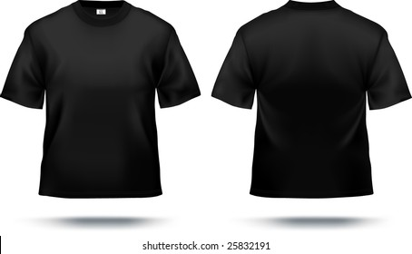 Black T-shirt design template (front & back). Contains gradient mesh elements, lot of details. More clothing designs in my portfolio!