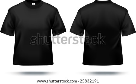 Black T Shirt Design Template Front Back Contains Gradient Mesh Elements