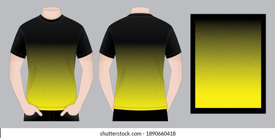 Black T-Shirt Design With Yellow Dots Graphic Lines And Dots Background Pattern Vector For Printing.