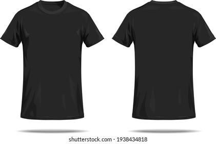 Black T-shirt on white background.