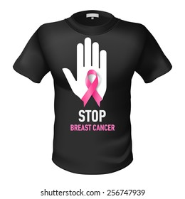 Black t-shirt with sign Stop Breast Cancer. White hand with pink ribbon