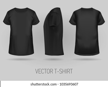 Black t-shirt template in three dimentions: front, side and back view, realistic gradient mesh vetor.
