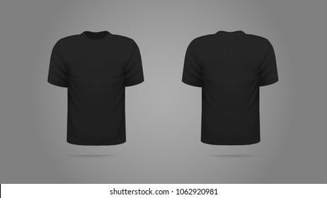 Black Tshirt Template Vector Front Back Stock Vector Royalty Free