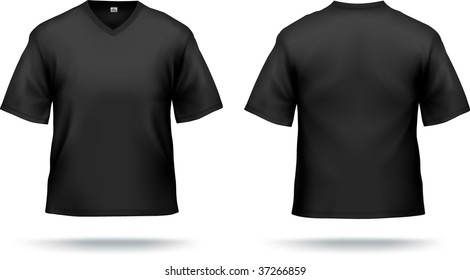 Black T-shirt with triangle collar. Can be used as design template. Contains lot of details, gradient mesh & cllipping masks used.