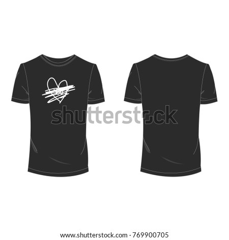 3686a0b7f Black T-shirt Unrequited love for Valentine day template using for fashion  cloth design and