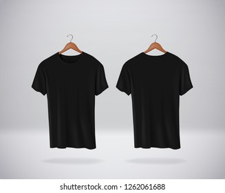 Black T-Shirts Mock-up clothes hanging isolated on wall, blank front and rear side view.