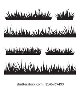 Black tufts of grass. A set of design elements of nature. Vector illustration.