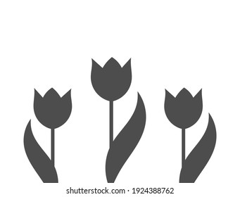 Black tulips flowers on white background. Tulip shape vector illustration.