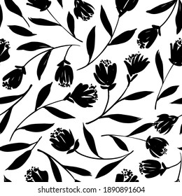Black tulips vector seamless pattern. Hand drawn silhouettes of spring flowers, tulips, narcissus and iris. Dry brush style floral motives. Black paint illustration with abstract flowers