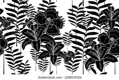 Black tumeric and hawaiian flowers pattern. Vector illustration. Botanical seamless wallpaper. Digital nature art. Cartoon style sketch. White background.