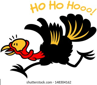 Black turkey completely frightened and feeling in big trouble. In hurry to leave, to run away after having heard Santa Claus laughing