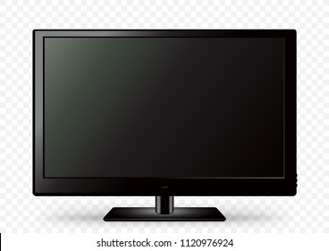 Black TV icon template with shadow on white transparent background. Television LED display screen. Flat media technology eletronic equipment. LCD computer monitor