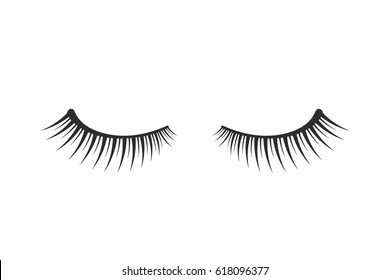 black two eyelashes extension icon on white background. concept of emblem for services make-up in the beauty salon for young girl. unusual flat trend modern logotype graphic art design symbol