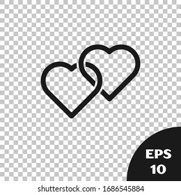 Black Two Linked Hearts icon isolated on transparent background. Romantic symbol linked, join, passion and wedding. Happy Women Day.  Vector Illustration
